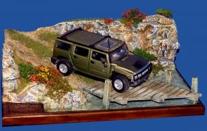 Diorama Grundplatte, Offroad Gelände mit Brücke 3, 1:24
