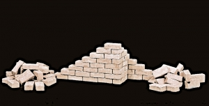 150 Keramik Ziegelsteine kalkweiss 1:9
