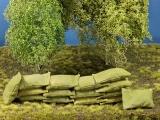 Diorama Zubehör, 15 kleine echte Stoff Sandsäcke, gefüllt 45 x 30 mm
