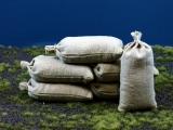 8 Khaki beige Stoff Sandsäcke, gefüllt 100 x 50 mm, gebunden
