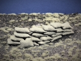 20 Khaki beige Stoff Sandsäcke, gefüllt 15 x 30 mm