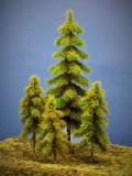 Diorama Modell Nadelbäume, 4 Fichten, ca. 32-18-18-14 cm