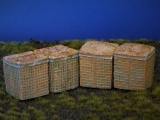 Diorama Zubehör, 4 Hesco Barriers, militärischer Sandwall, Sandkörbe, coloriert, 1:35/32