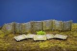 Diorama Zubehör, 12 Graben- u. Stellungspalisaden Typ 1, coloriert, verwittert, echt Holz, 1:35/32