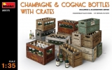 Champagne & Cognac Bottles with Crates in 1:35