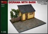 Diorama Bausatz, Straße mit Stall in 1:35