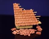 400 Keramik Biberschwanz Dachziegel, ziegelrot 1:35/32