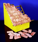 60 Keramik Biberschwanz Dachziegel, ziegelrot 1:9