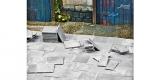 140 Halb Gehwegplatten (50x25 cm) dunkelgrau, 1:35 Juweela