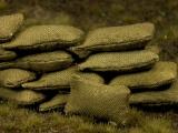 Diorama Zubehör, 20 kleine echte Stoff Sandsäcke, gefüllt 15 x 30 mm